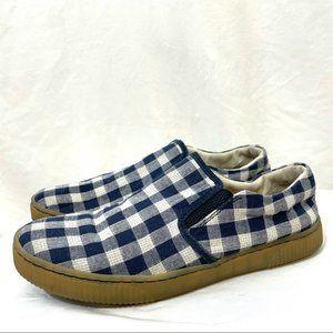 Born Richie Slip on Sneaker Navy Blue Checkered Plaid D87534